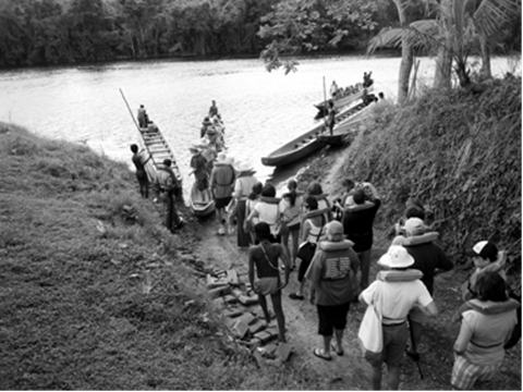 Preparing to board dug out canoes to Authentic Embera Village.