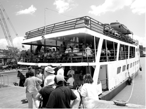 Boarding the Panama Canal Experience ferry boat.